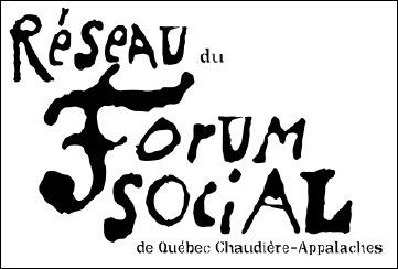 Logo : les mots Réseau du Forum Social sont en grandes lettres noires et surtout difformes, un peu bosselées et asymétriques.