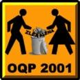 [logo d'OQP2001: dans un style panneau routier orange, une forme masculine et une forme féminine dépose ensemble la ZLÉA et l'ALÉNA dans une poubelle.]